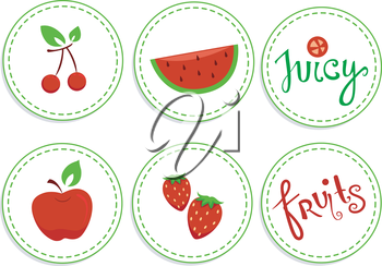 Illustration of Red Fruits Sticker Designs