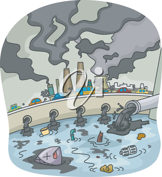 Illustration of Water and Air Pollution