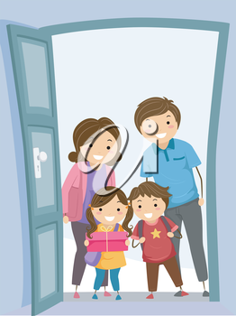 Illustration of a Family Visiting Another Family's House
