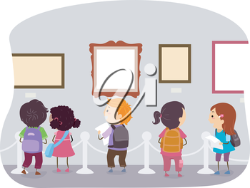 Illustration of Kids Looking at the Displays in an Art Museum