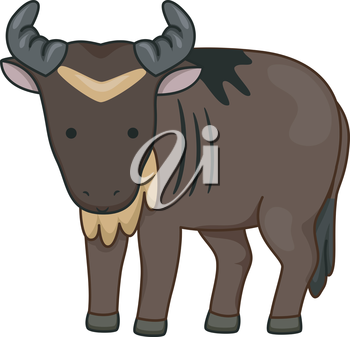 Illustration of a Wildebeest Looking Curiously at the Screen