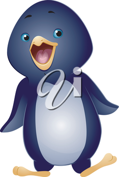 Illustration of a Cute Penguin Waddling