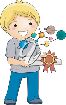 Illustration of a Boy Carrying a School Project with a Ribbon Attached to it