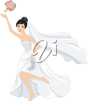 Illustration of a Bride Throwing Her Bouquet While Running Barefoot