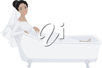 Illustration of a Lovely Bride Lying on an Empty Bathtub