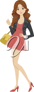 Illustration of a Female Student Dressed Fashionably