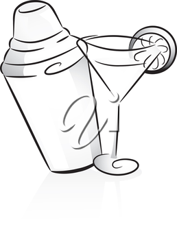 Icon Illustration Featuring a Cocktail Shaker and a Cocktail Glass Drawn in Black and White