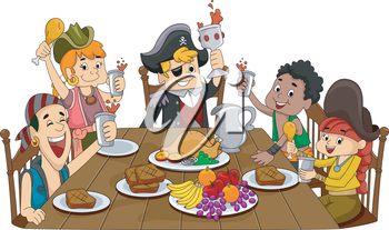 Illustration Featuring a Group of Pirates Holding a Celebration