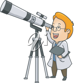 Illustration of a Researcher Using a  Long Range Telescope