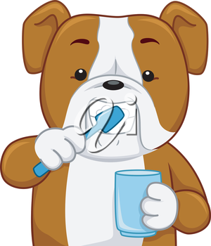 Illustration of a Bull Dog Brushing its Teeth