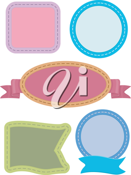 Illustration Featuring Ready to Print Labels with Stitches for Design