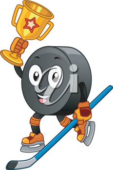 Mascot Illustration Featuring an Ice Hockey Puck Carrying a Golden Trophy