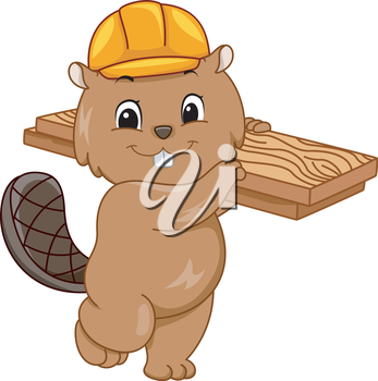 Illustration Featuring a Beaver Wearing a Hard Hat and Carrying a Slab of Wood