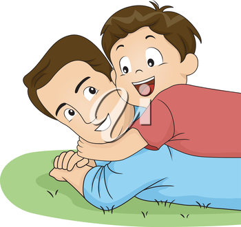 Illustration of a Son Hugging His Father