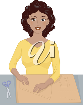 Illustration Featuring a Girl Tracing a Sewing Pattern