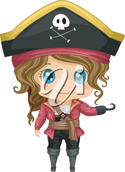 Illustration Featuring a Girl Wearing a Pirate Costume