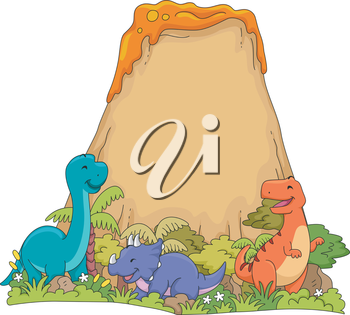 Illustration Featuring Dinosaurs Playing Near a Volcano