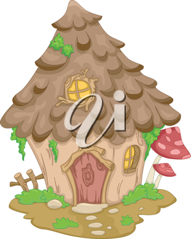 Illustration Featuring a Cute Gnome House