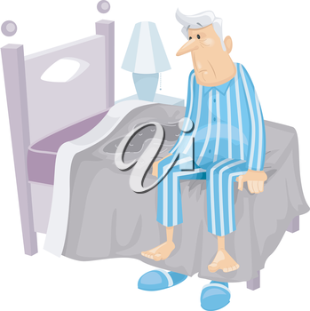Illustration Featuring an Elderly Man Who Has Just Wet His Bed