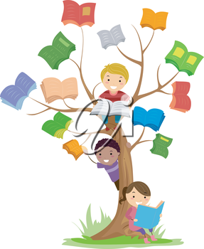 Stickman Illustration of Kids Reading Books Growing Off a Tree