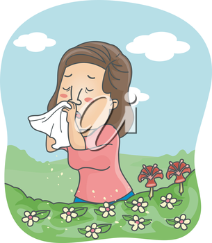 Illustration of a Girl Blowing Her Nose After the Pollen Triggered an Allergic Reaction