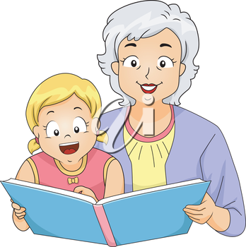 Illustration of a Grandmother Reading to Her Granddaughter