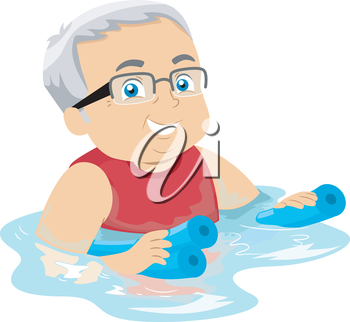 Illustration of a Senior Citizen Hanging on to Floaters While Swimming