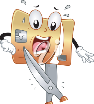 Mascot Illustration of a Terrified Credit Card About to be Cut