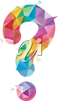 Illustration of a Colorful Abstract Question Mark Geometric Design