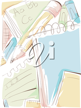Background Illustration of a Notepad Scribbled with Letters and Numbers