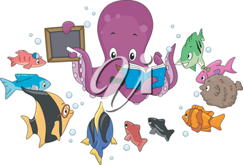Illustration of an Octopus Teaching a School of Fish