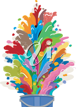 Illustration of a Paint Bucket Bursting with Colors
