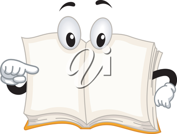 Mascot Illustration Featuring a Book Pointing to Itself