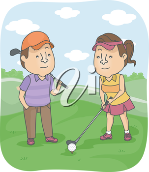Illustration of a Man Watching His Girlfriend Prepare to Hit the Golf Ball