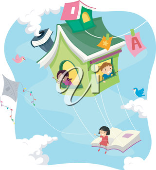 Stickman Illustration of Kids Riding a Flying Book House