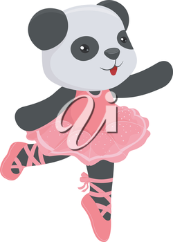 Illustration of a Cute Panda Wearing a Ballet Costume