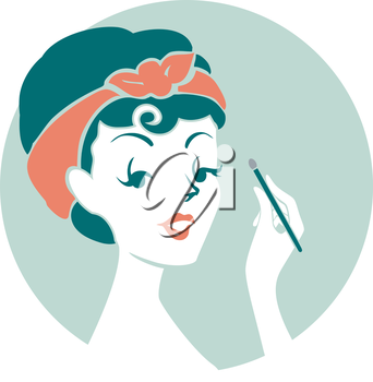 Illustration of a Pinup Girl Applying Eyeshadow on Her Eyes