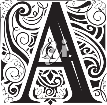 Illustration of a Vintage Monogram Featuring the Letter A