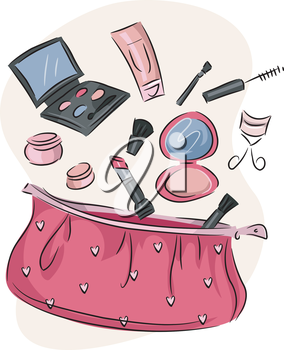 Illustration of a Pink Purse Containing an Assortment of Cosmetic Products