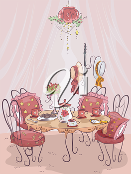Illustration of a Fancy Party Table Setting