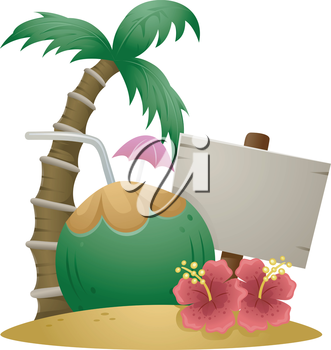 Illustration of Hawaiian Island with Coconut Drink and Sign Board