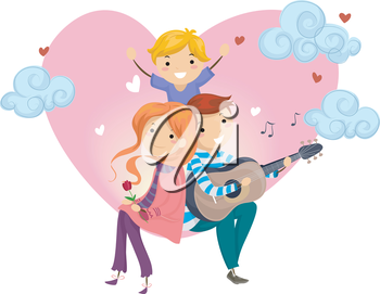 Stickman Illustration of a Father Serenading His Wife and Son