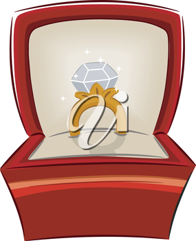 Illustration of an Open Jewelry Box with a Diamond Ring Inside