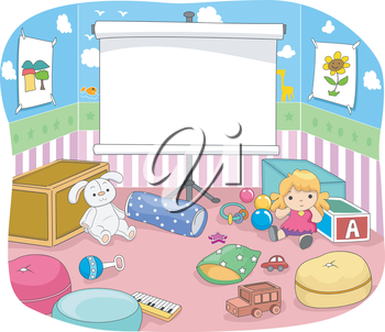 Illustration of a Nursery Room with a Projection Screen at the Center