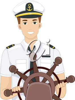 Illustration of a Captain Behind the Wheel