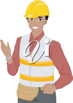 Illustration of a Construction Worker Doing a Hand Gesture