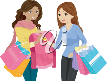 Illustration of a Teenage Girl Buying a Discounted Sweater
