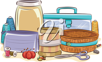 Colorful Illustration Featuring Different Containers for Sewing Materials