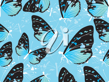 Seamless Background Illustration of Butterflies in Black, Blue and Green