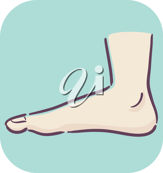 Illustration of a Flat Footed Feet. Feet with a Low Arch